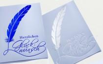 Glückwunschkarte mit geprägtem Kuvert